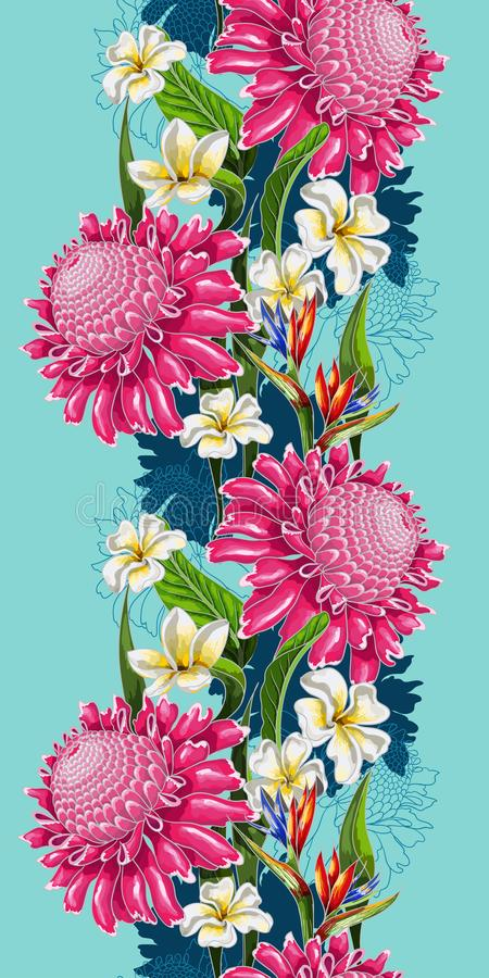 Seamless border with tropical flowers for your design. Vector illustration. vector illustration