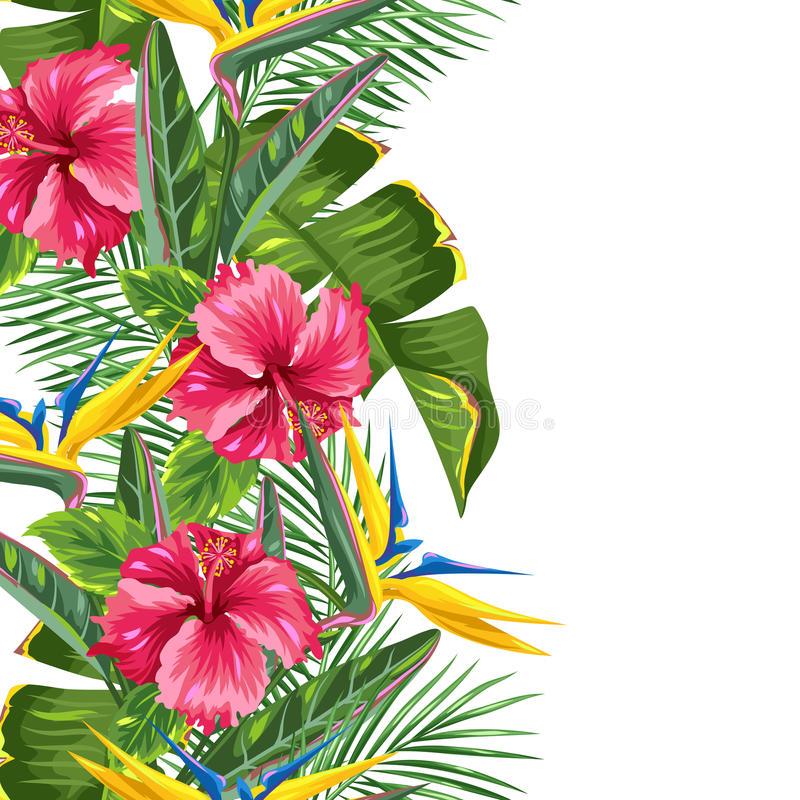 Seamless border with tropical leaves and flowers. Palms branches, bird of paradise flower, hibiscus vector illustration