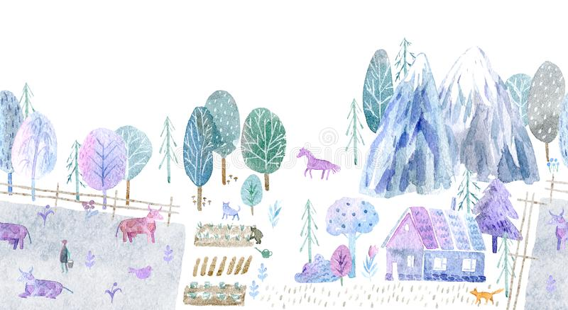 Seamless border of a village, pasture, forest,cow,mountain, chicken, horse,farm and floral.Landscape. stock illustration