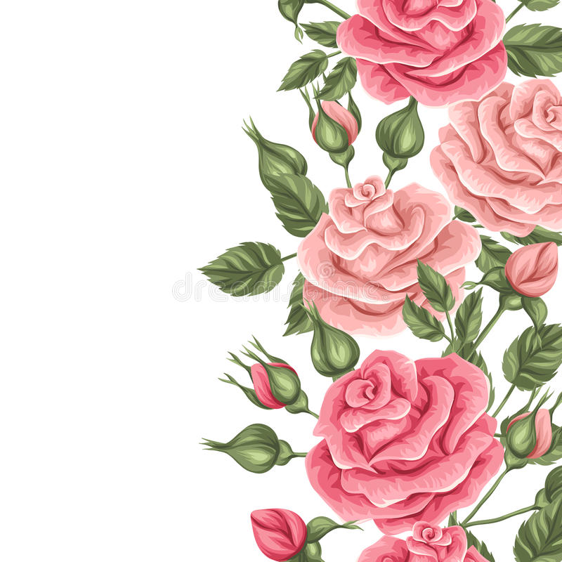 Seamless border with vintage roses. Decorative retro flowers. Easy to use for backdrop, textile, wrapping paper vector illustration