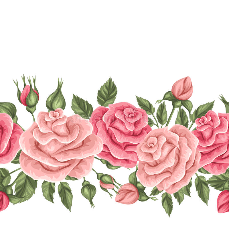 Seamless border with vintage roses. Decorative retro flowers. royalty free illustration