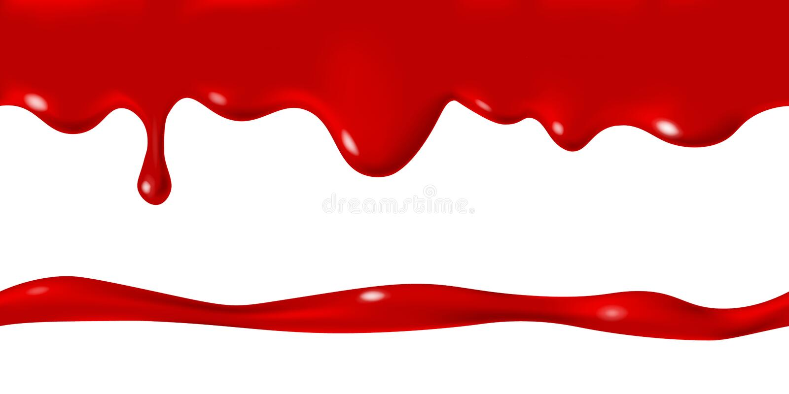 Seamless border of white milk cream drops. Seamless dripping red blood drops, Halloween concept. Vector paint stain illustration for background design. Realistic stock illustration