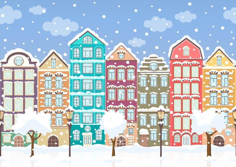 Seamless border of winter retro colorful houses, trees, lanterns in snow, exterior urban landscape, city background. European royalty free illustration