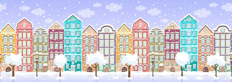 Seamless border of winter retro colorful houses, trees, lanterns in snow, exterior urban landscape, city background. European vector illustration