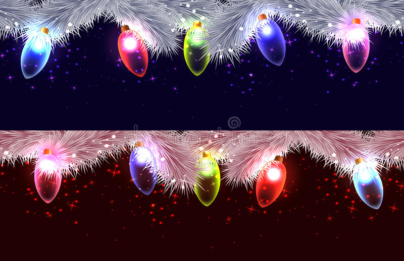 Seamless borders of different branches of Christmas tree, stock illustration
