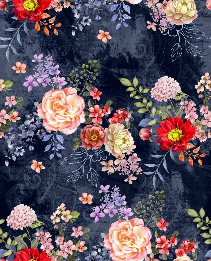 Seamless borders watercolor floral design of multi colored flowers with leaves on effect background dark blue background for text stock illustration