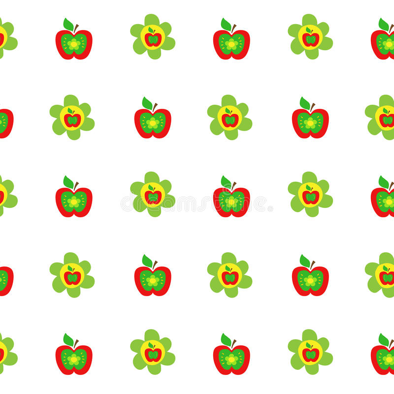 Seamless botanical pattern colorful apples flowers kids style, fabric, scrapbooking, quilting, gift wrap, patchwork stock illustration