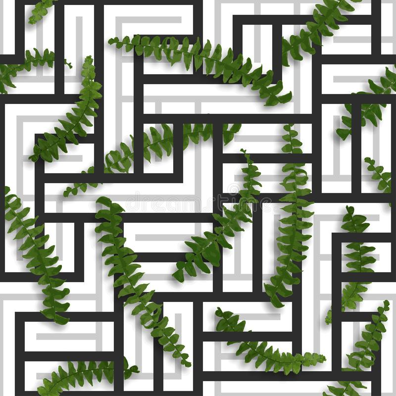 Seamless tropical pattern with fern leaves. Exotic geometric black and grey design. Floral vector background.  stock illustration