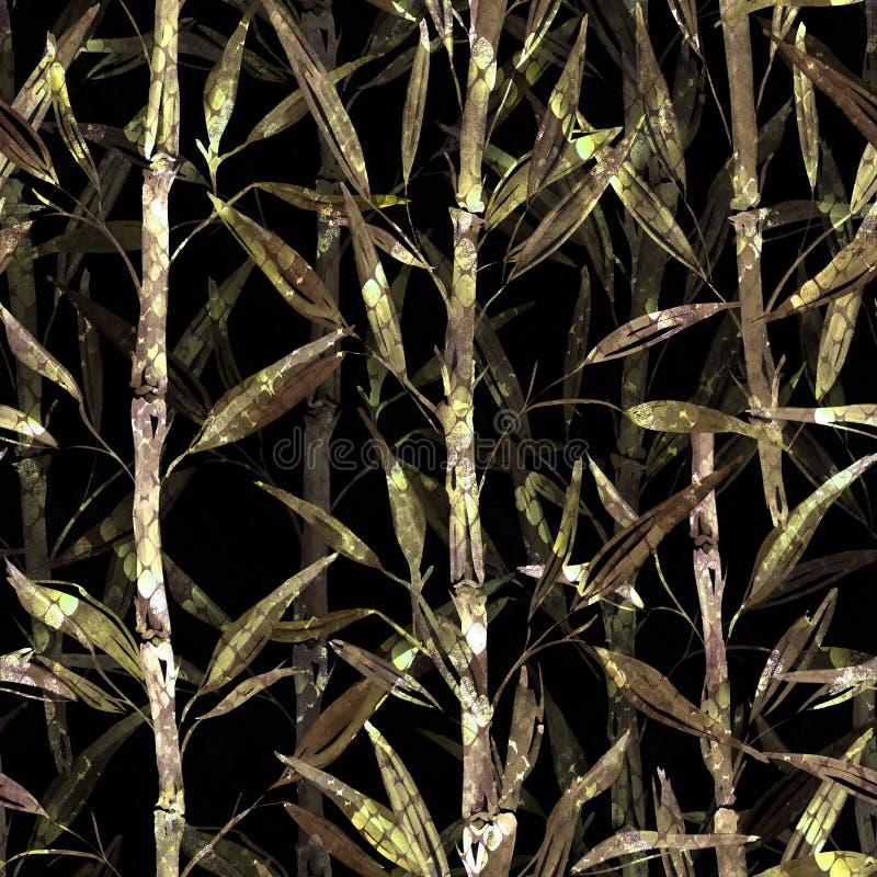 seamless botanisk modell Filialer av en bambu på en svart bakgrund Stilfull modell för textiler stock illustrationer
