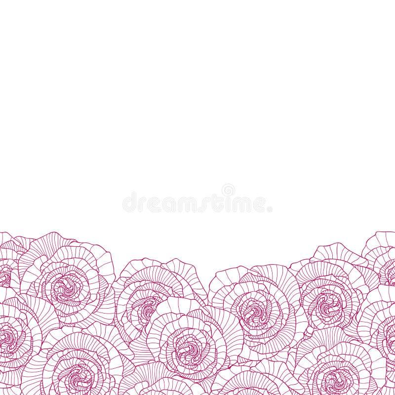 Seamless bottom border made of rose flower. S royalty free illustration