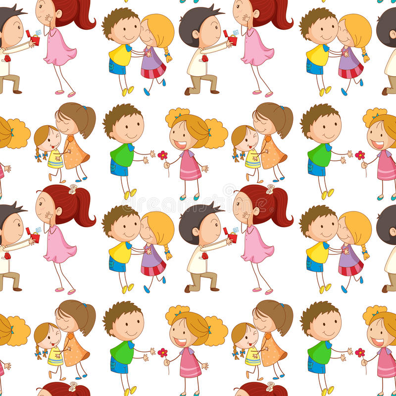 Seamless boys and girls being in love royalty free illustration