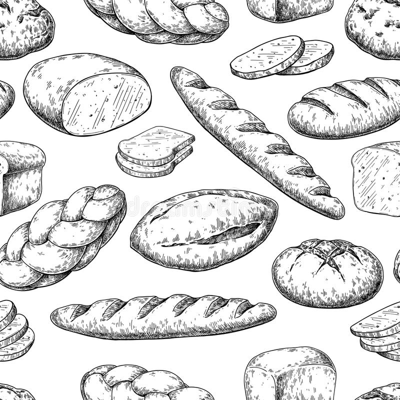 seamless brödmodell bakgrund som tecknar den blom- gräsvektorn Bageriprodukten skissar lodisar vektor illustrationer