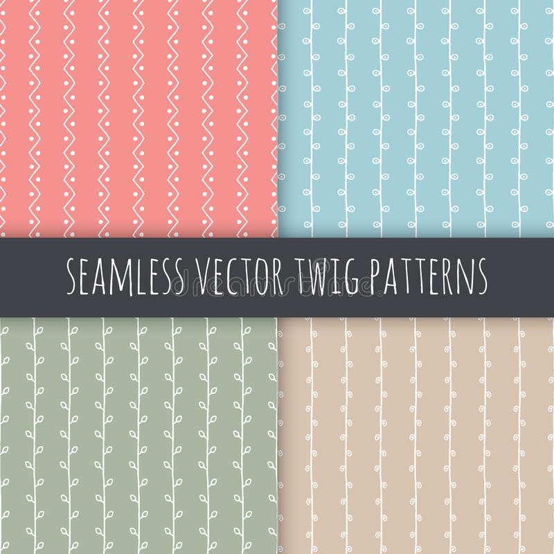 Seamless branch vector patterns. White vertical twigs with leaves on pink blue green beige background. Hand drawn ornament set royalty free illustration