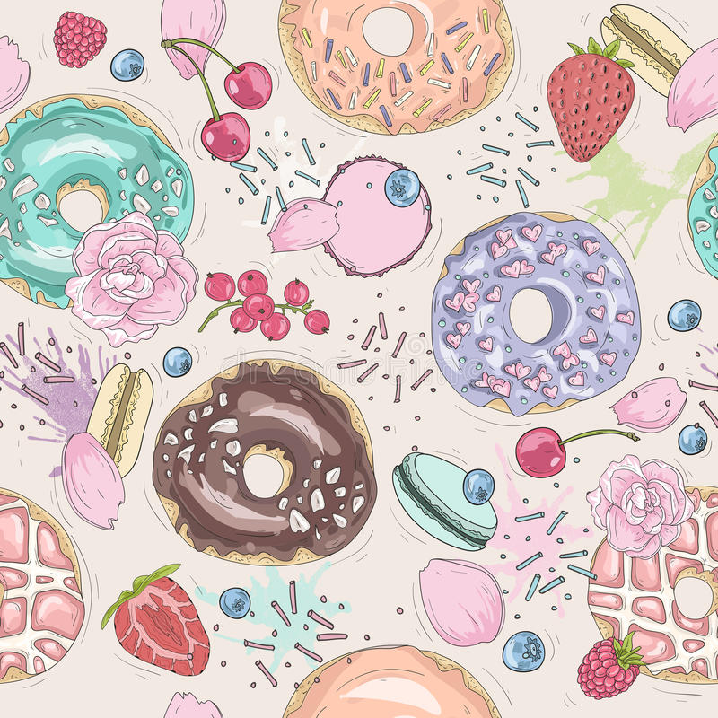 Seamless breakfast pattern with flowers, donuts, fruits. royalty free illustration