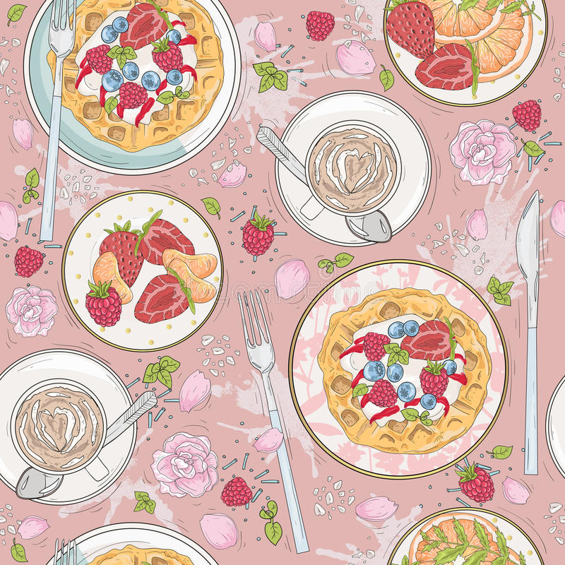 Seamless breakfast pattern with flowers, waffles, fruits royalty free illustration