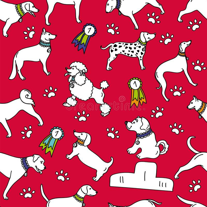Seamless breeds dog pattern isolated on red background vector illustration
