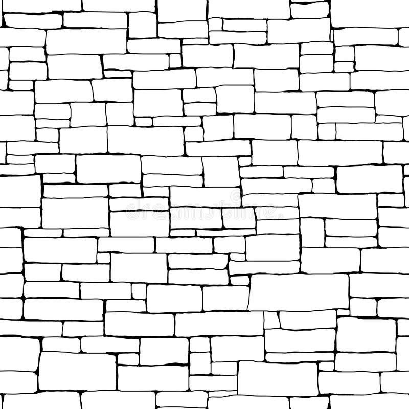 Seamless brick wall background (drawn with ink). stock illustration