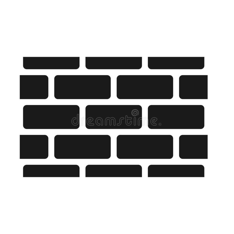 Seamless brick wall pattern, black isolated on white background, vector illustration. stock illustration