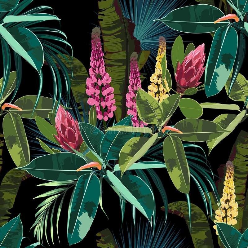 Seamless bright artistic tropical pattern with palm leaves, ficus and lupines flower. Modern colorful tropics background or print. Black background royalty free illustration