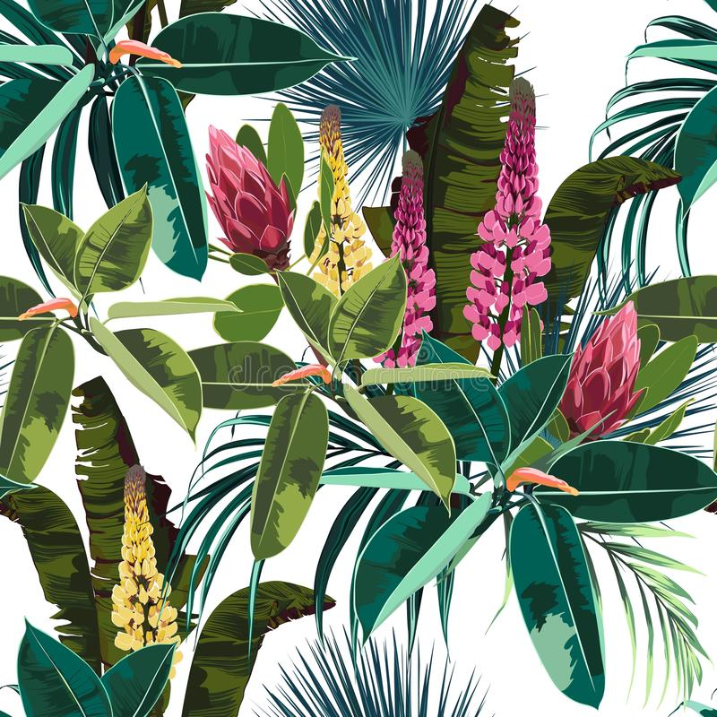 Seamless bright artistic tropical pattern with palm leaves, ficus and lupines flower. Modern colorful tropics background or print. White background stock illustration
