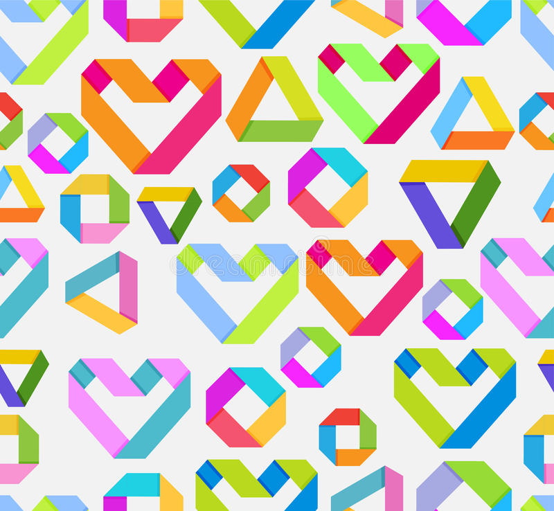 Seamless bright background with paper heart