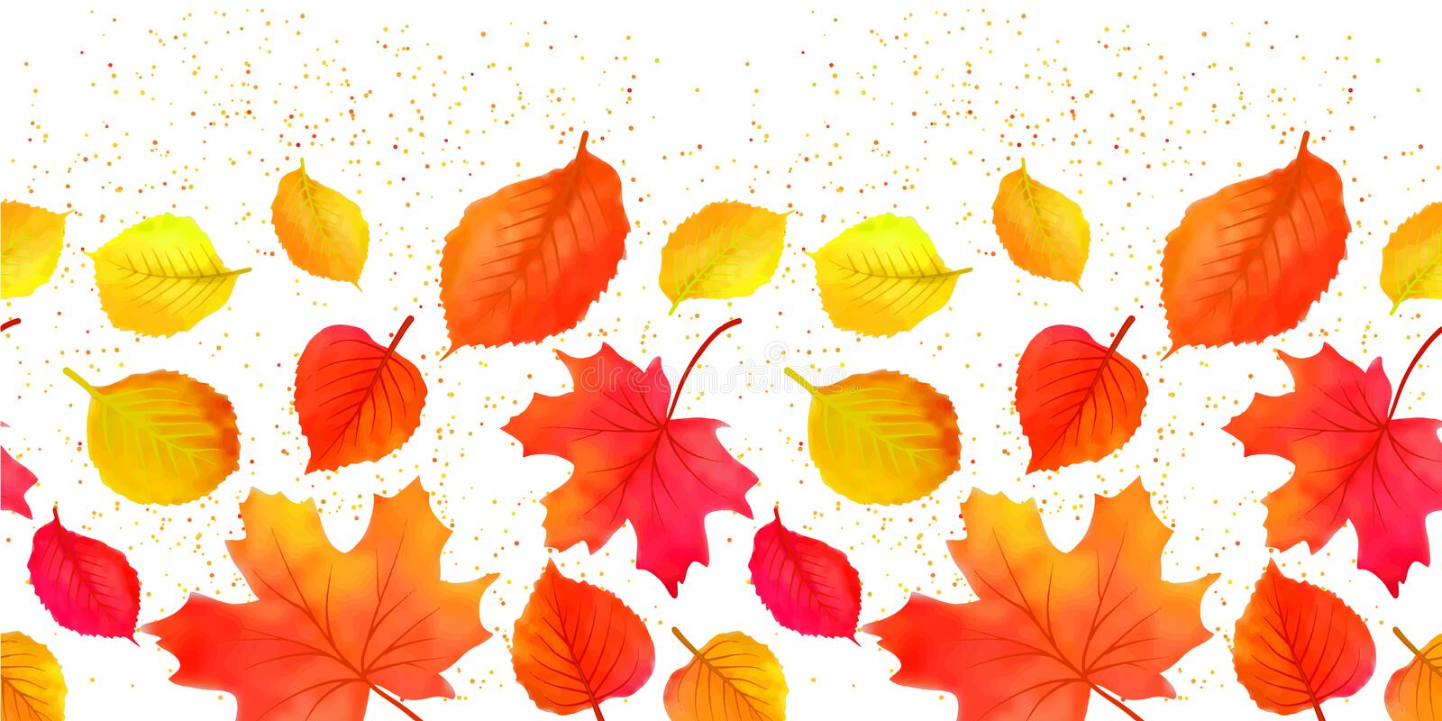 Seamless Bright Fall Autumn Leaves Border vector illustration