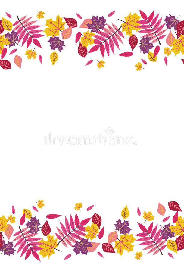 Seamless Bright Fall Autumn Sumac Leaves Top and Bottom Border 1.  royalty free illustration