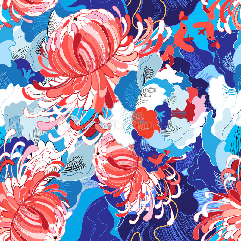 Seamless bright floral pattern stock illustration