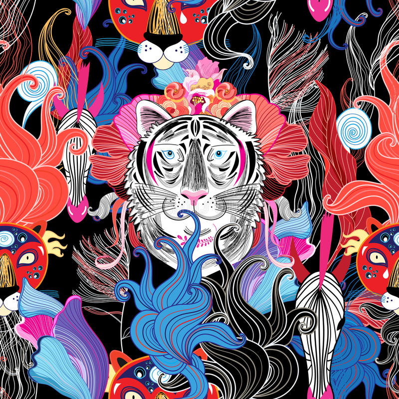 Seamless bright floral pattern of wild beasts. In the jungle vector illustration