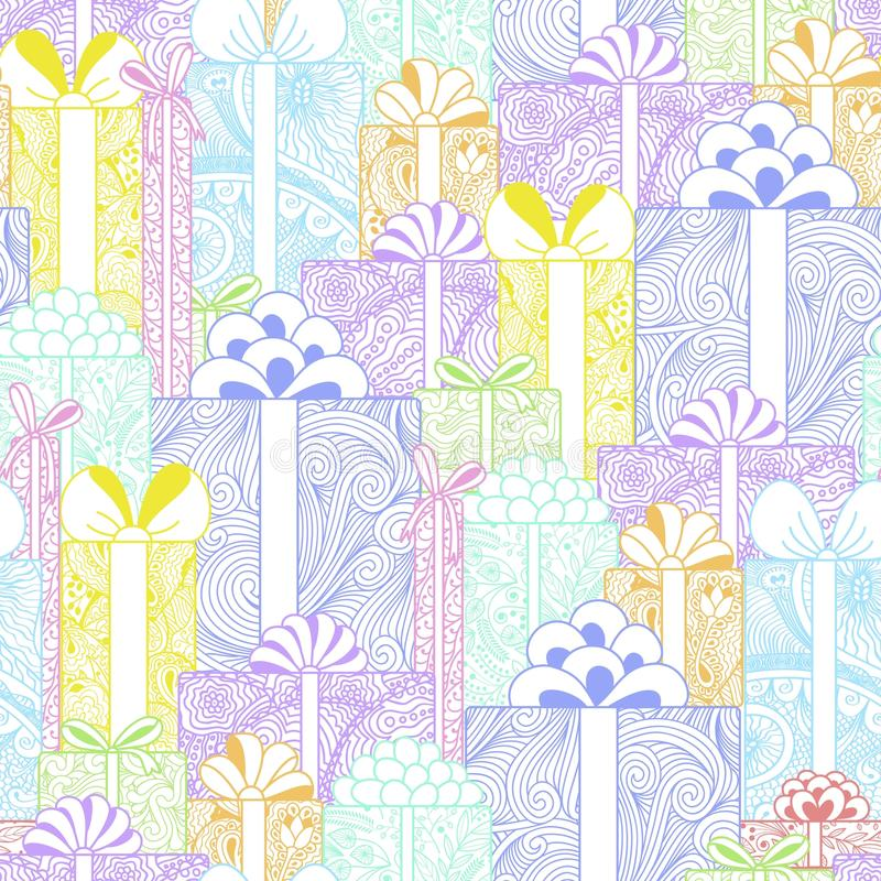 Seamless bright gift boxes pattern vector illustration