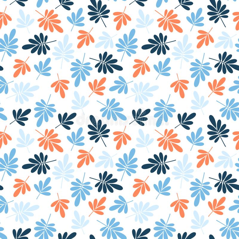 Seamless orange and blue jungle leaves print. Vector multi colored illustration on light background. Original floral pattern.  stock illustration