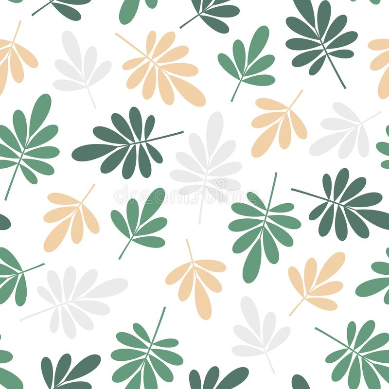Seamless beige and green jungle leaves print. Vector multi colored illustration on light background. Original floral pattern. vector illustration
