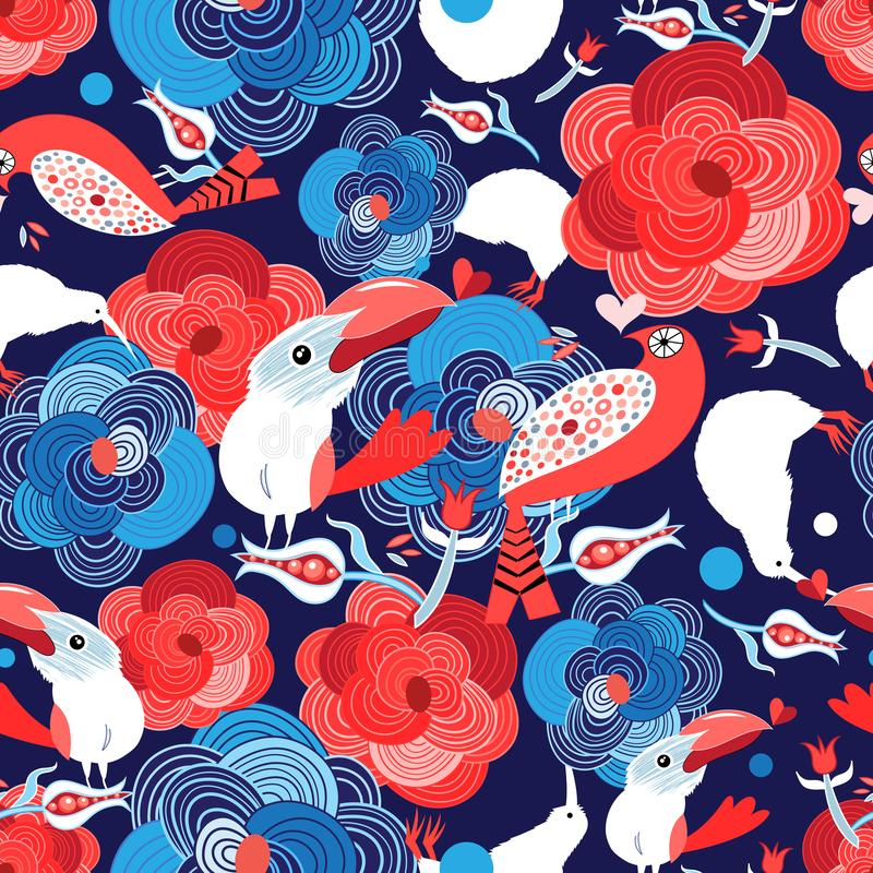 Seamless bright pattern with flowers and birds in love stock illustration