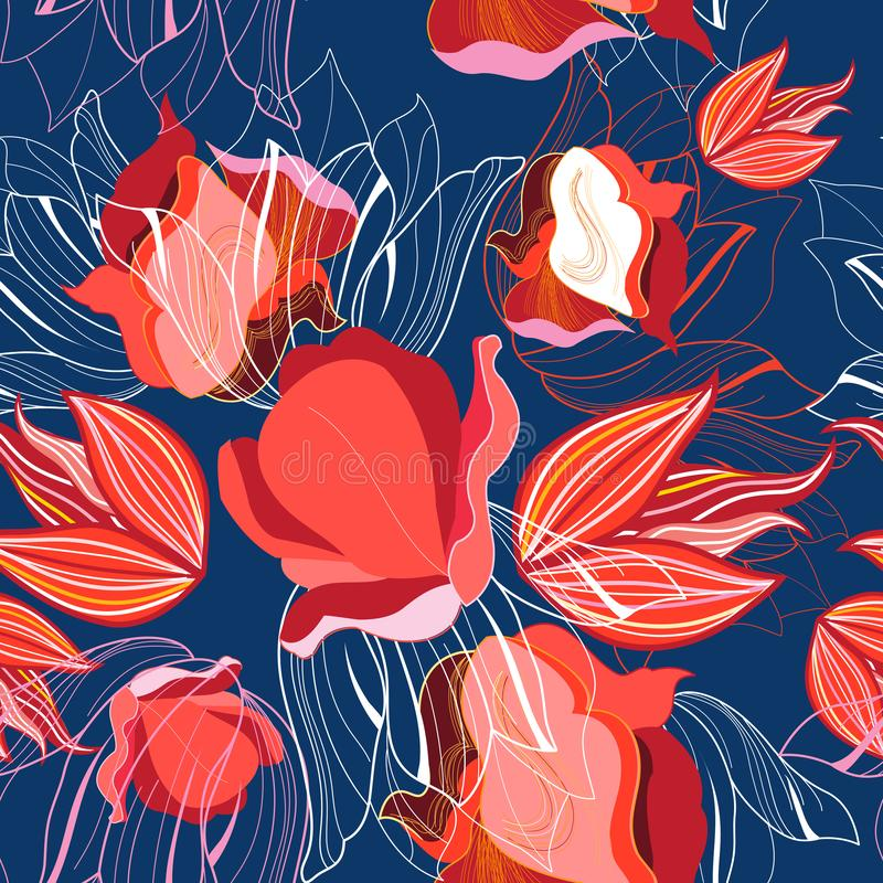 Seamless bright pattern of red tulips vector illustration