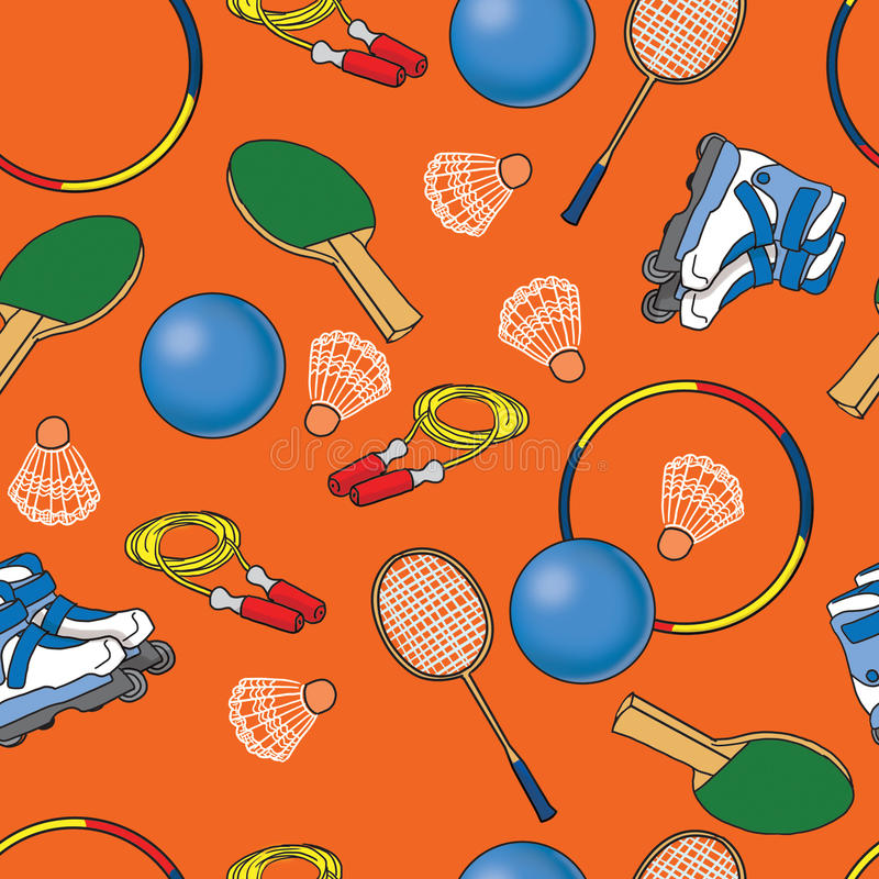 Seamless bright pattern with sport objects stock illustration