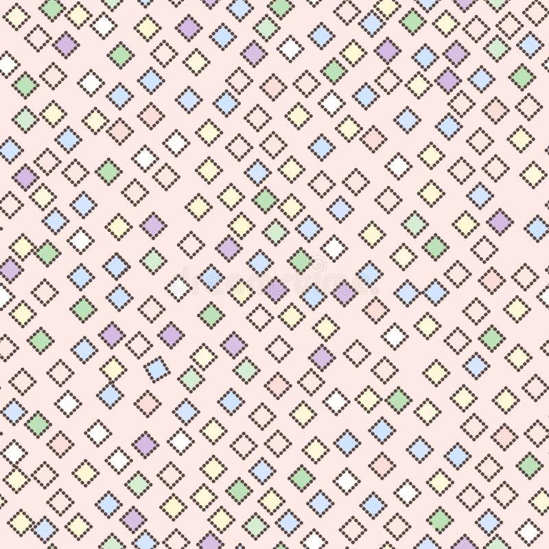 Seamless bright rainbow pattern of small diamonds stock illustration
