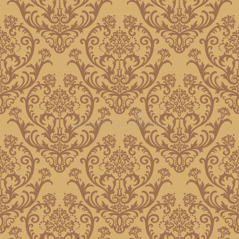 Download Seamless Brown Floral Wallpaper Stock Vector