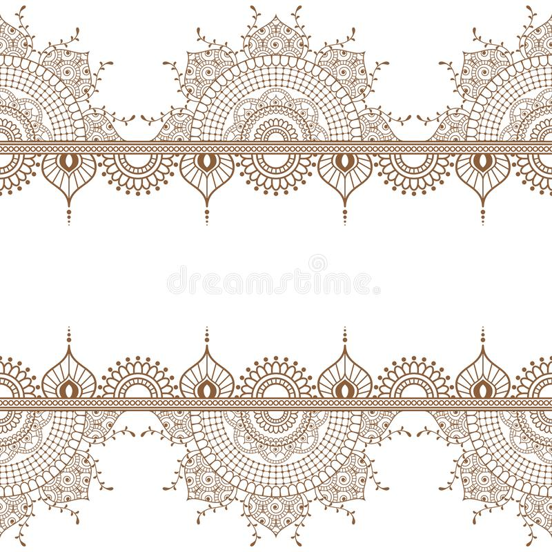 Free Seamless Brown Henna Pattern Mehndi Border Elements With Flowers For Tattoo Or Card In Indian Style On White Background Royalty Free Stock Photos - 137705298
