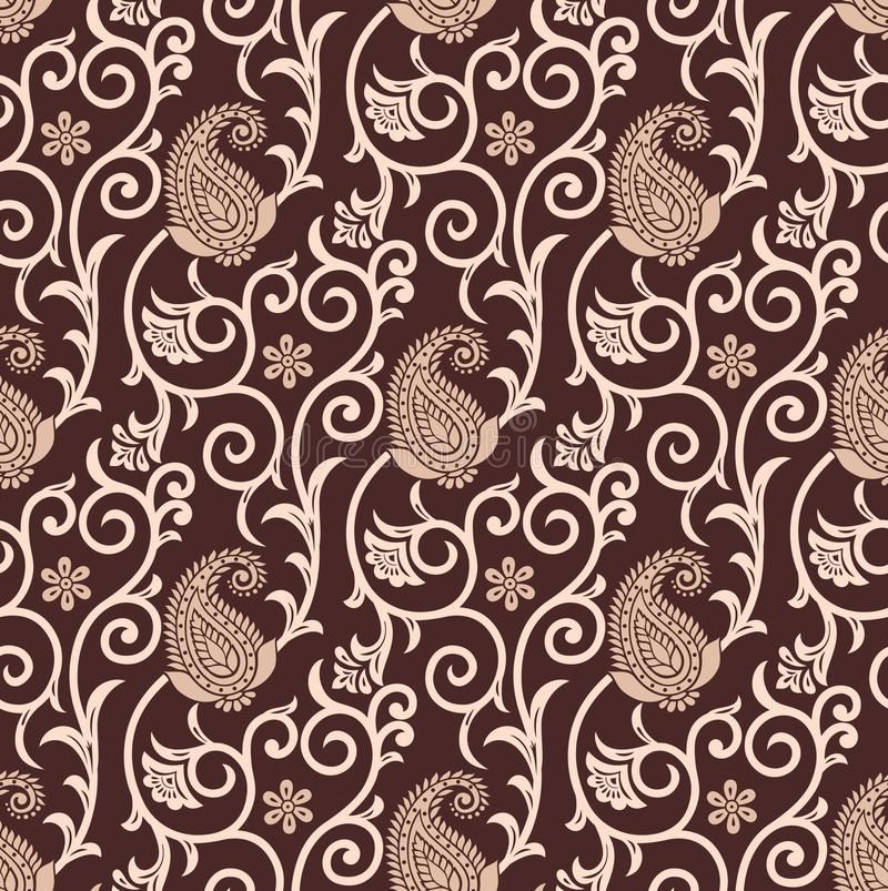 Seamless brown paisley background royalty free illustration