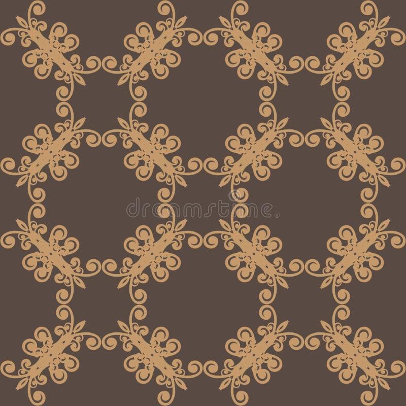 seamless brun blom- modell royaltyfri illustrationer