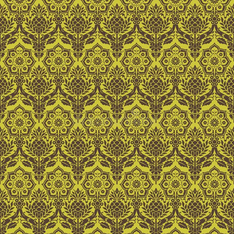 seamless brun damastast blom- grön modell vektor illustrationer