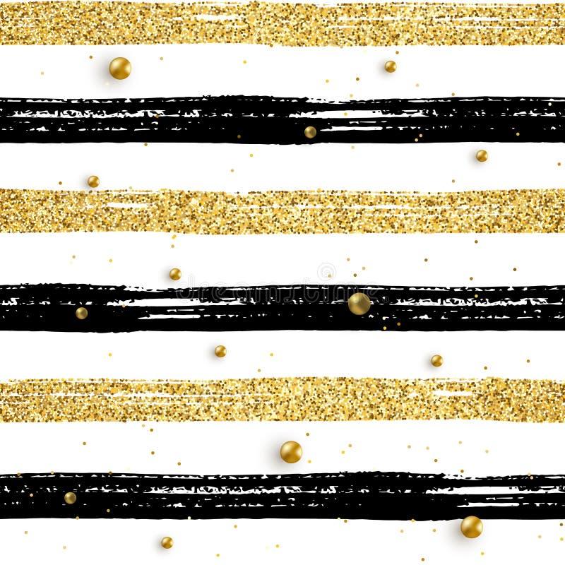 Seamless brush stroke pattern beads. Seamless brush stroke pattern with gold beads. Black and golden glitter hand drawn stripes on white. Vector textured striped royalty free illustration