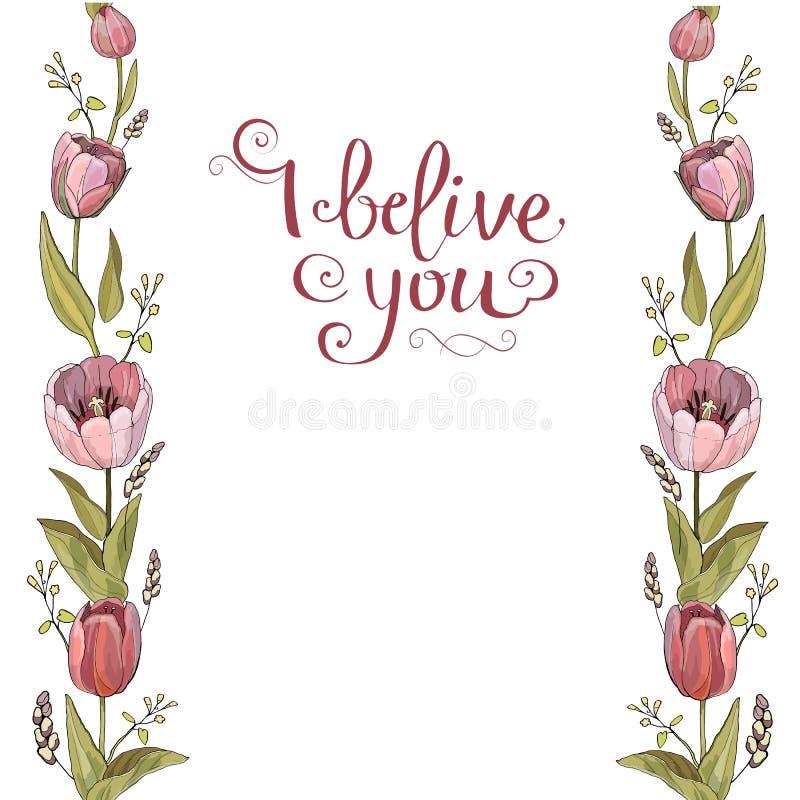 Seamless brush of Tulip flowers in vector on white background; stock illustration