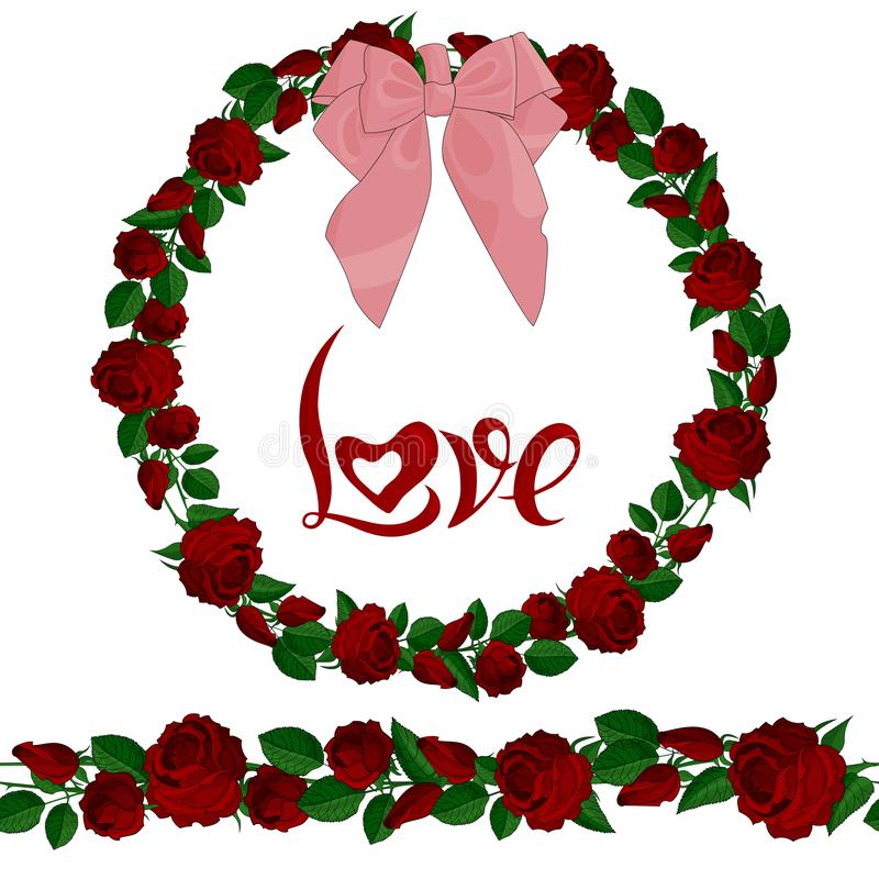Seamless brush and wreath of red roses with the lettering vector illustration