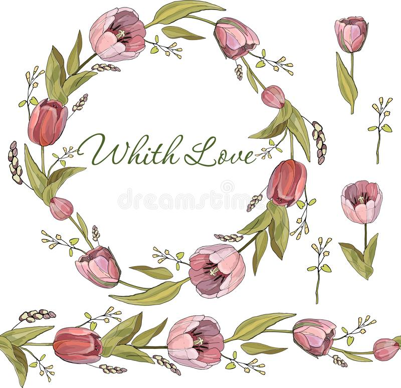 Seamless brush and wreath of Tulip flowers stock images