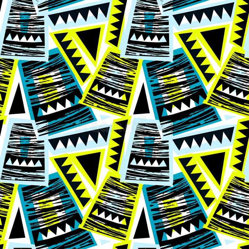 Seamless brushpen doodle pattern grunge texture.Trendy modern in vector illustration