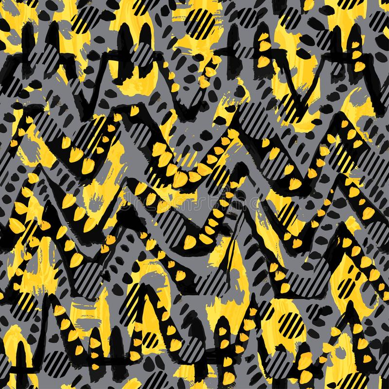Seamless brushpen textile doodle pattern grunge texture royalty free illustration