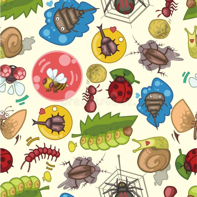 Seamless bug pattern. Vector drawing stock illustration