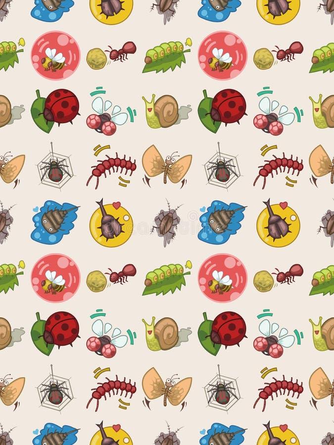 Seamless bug pattern. Cartoon vector illustration stock illustration
