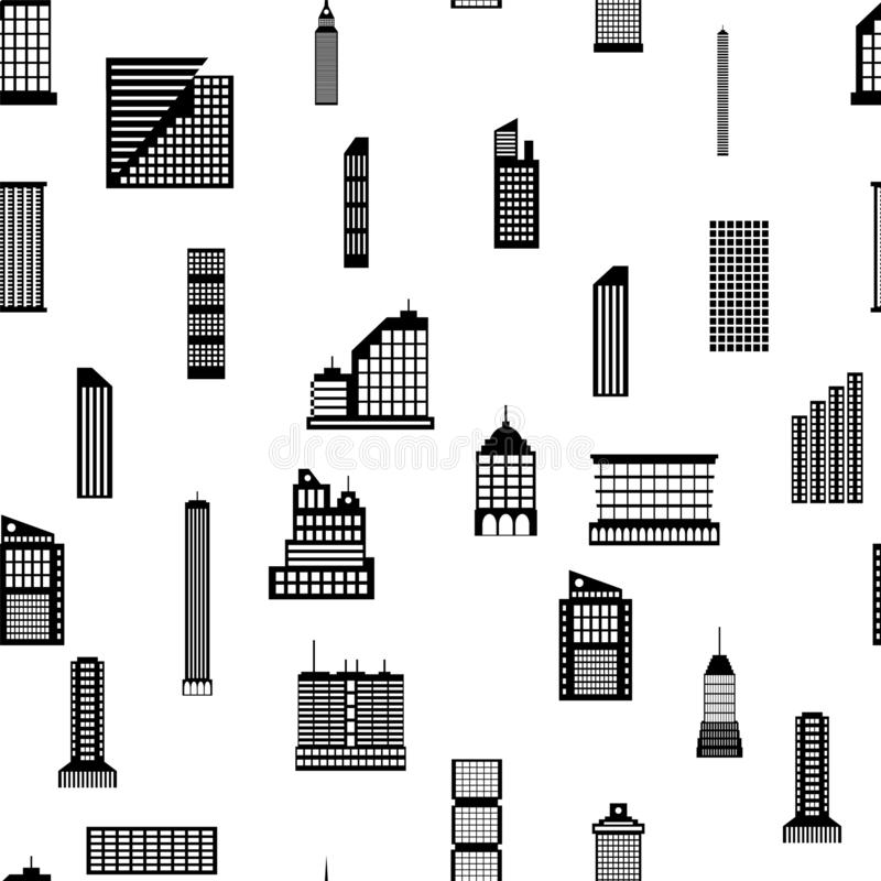 Seamless buildings megapolis pattern. Set of various city buildings. Residential and office, television tower. Vector illustration in flat style vector illustration